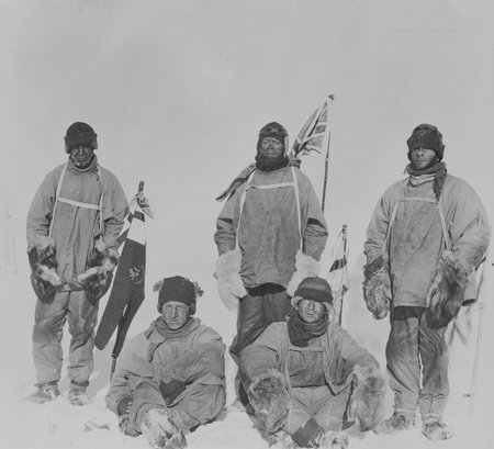 Captain Scott and his team (Oates, Bowers, Wilson & Evans) at the South Pole, 18 Jan 1912. The five men were to die on their return journey