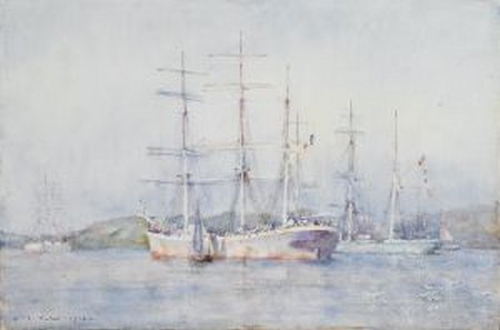 1024-fal-henry scott tuke - two french barques at their anchorage in carrick roads