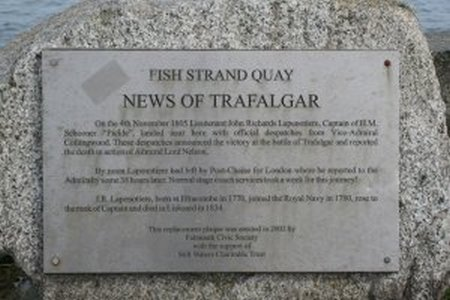 fal-detail of news of trafalgar plaque on fish strand quay - geograph-org-uk - 1227043